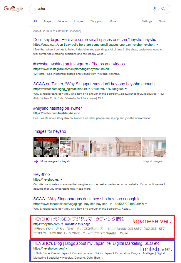 The search result without hreflang