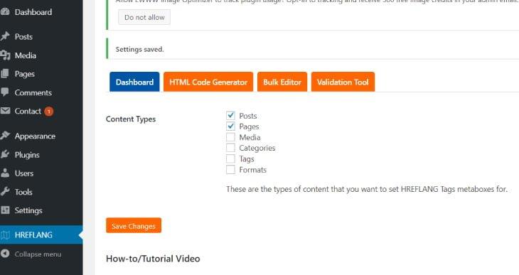 hreflang tags liteのプラグインをインストールした後に、設定画面からPostsとPagesにチェックを入れる
